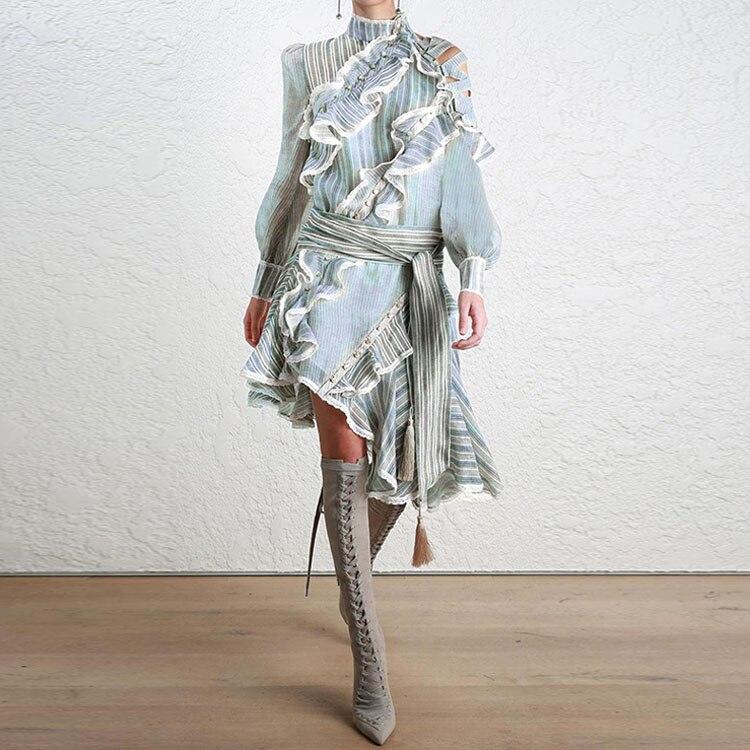 Manches Femmes En Mousseline Rayé Femme Spectacle De Automne Marque Robe Soie Nd2300 Lanterne Robes Ete Voir Orange 2018 Partie wqIapPg