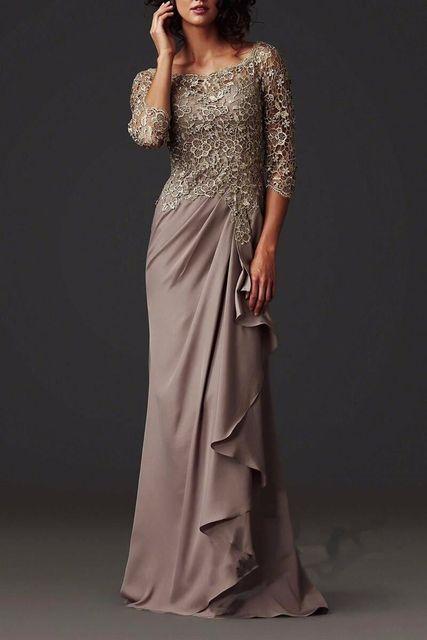 Элегантный шифон брючный костюм свадьба ну вечеринку vestido де madrinha half-рукава оболочка топ кружева мать невесты платья