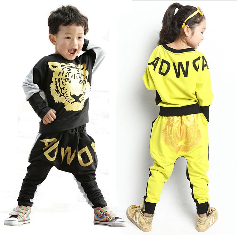 Kids Hip Hop Clothing Set Boys Spring Girls Clothes 10 12Year Girl Tracksuits Costume Children 2Pcs Printing Tiger T-shirt+Pants 2pcs children outfit clothes kids baby girl off shoulder cotton ruffled sleeve tops striped t shirt blue denim jeans sunsuit set