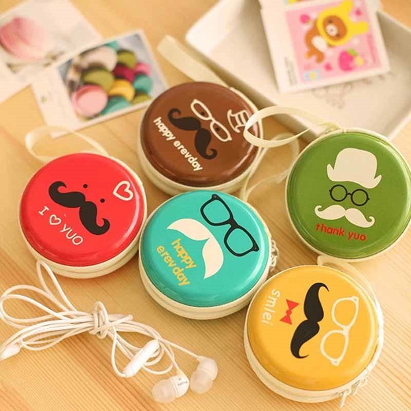 Women Kawaii Beard Mini Bag Cartoon Print Coin Purse kids Girls Wallet Earphone Box Bags Wedding Party Christmas Gift Child