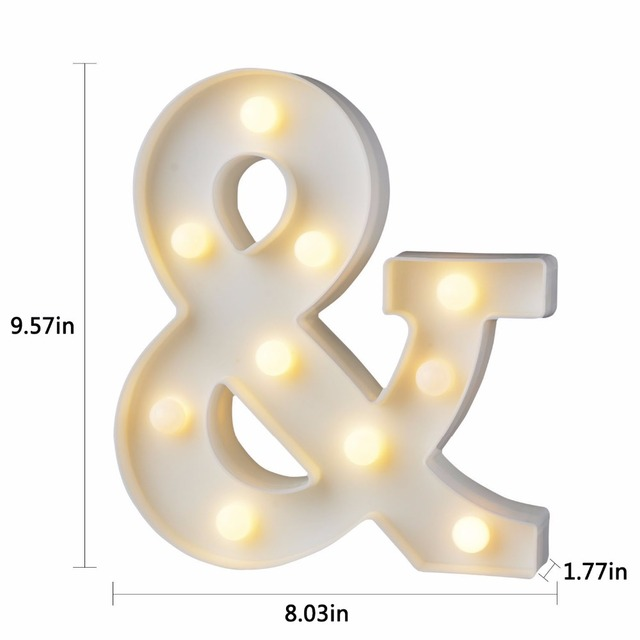 White Plastic Letter LED Night Light Marquee Sign Alphabet Lights Lamp Home Club Outdoor Indoor Party Wedding Home Decoration 6