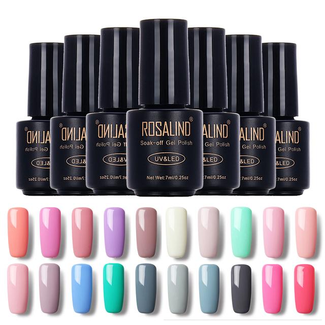 Rosalind czarna butelka 7 ml pure color 58 kolorów 31-58 uv gel nail polski paznokci żel długim macaron trwały żel polski