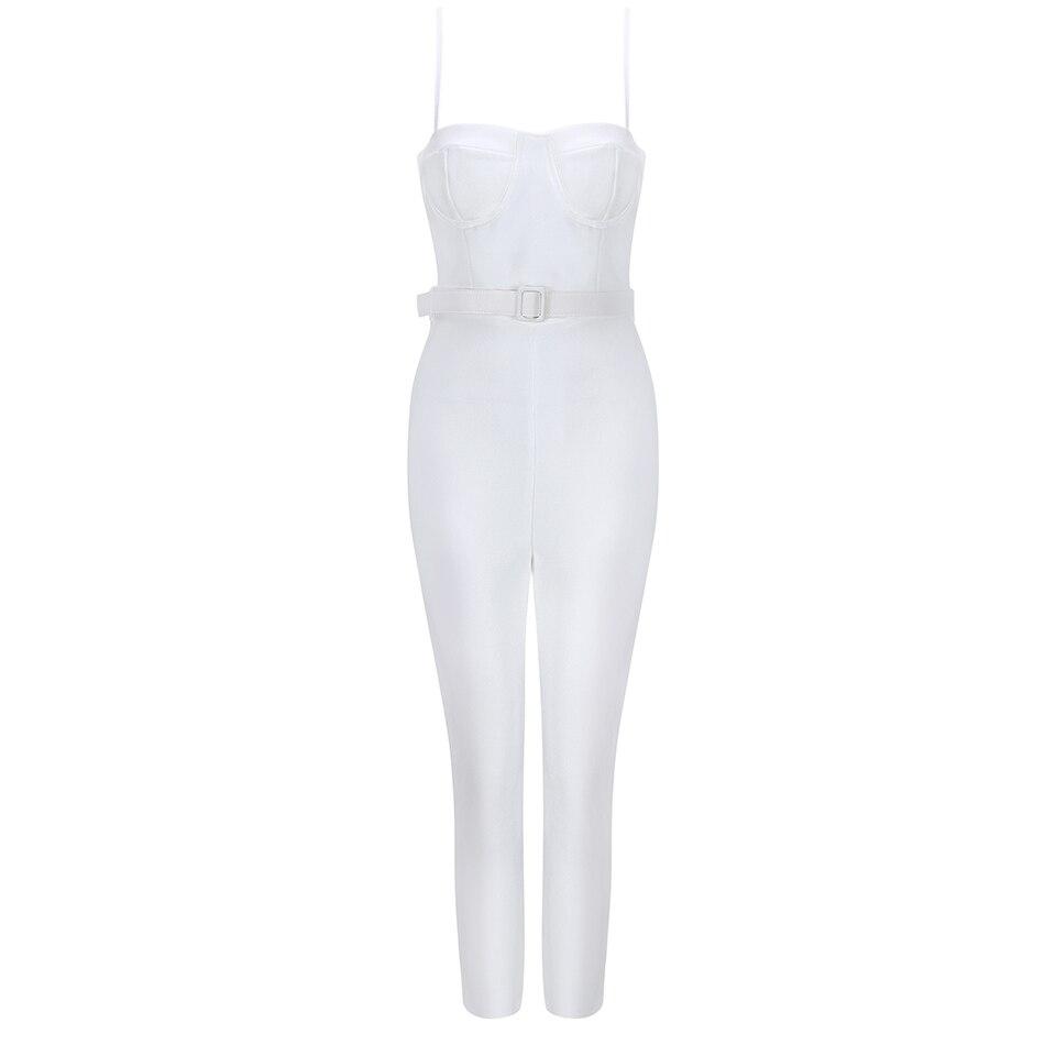 2018 Femmes Blanc Salopette Combinaisons Ceintures Party Moulantes Robes D'été Gros En Nouvelle Bandage Halinfer Celebrity Sexy aSzqWwFad