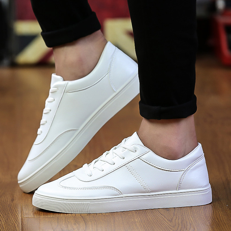 LAKESHI Men Shoe Fashion Casual Spring Autumn Flat Shoes White Sneakers Lace-up Solid Leather Shoes Male Tenis Zapatos de hombre hot sale casual shoes men spring autumn waterproof solid lace up man fashion flat with pu leather outdoors shoe