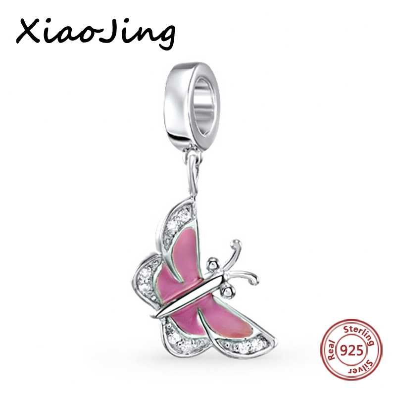Pink The butterfly New Arrival charms silver 925 original Antique Beads Authentic Fit pandora Bracelets Jewelry For women Gifts in Beads from Jewelry Accessories