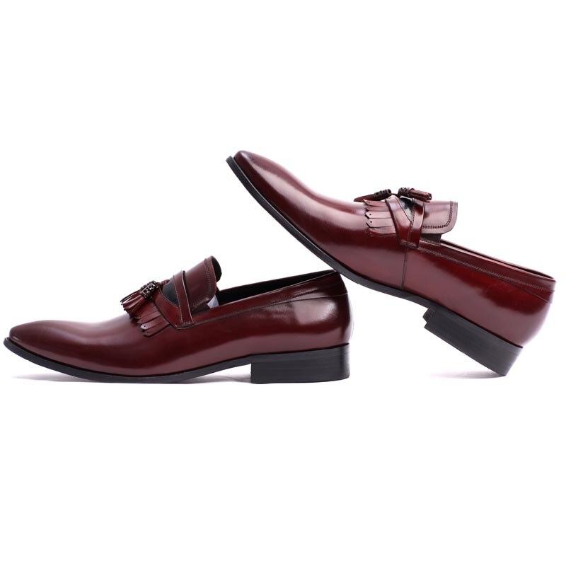 Spitz Leder Männer Qualität Schwarz On Business 100 Marke Red Formale Herren Echtem Mode Männlichen wine Black Slip Hohe Schuhe wxEzqSgtg