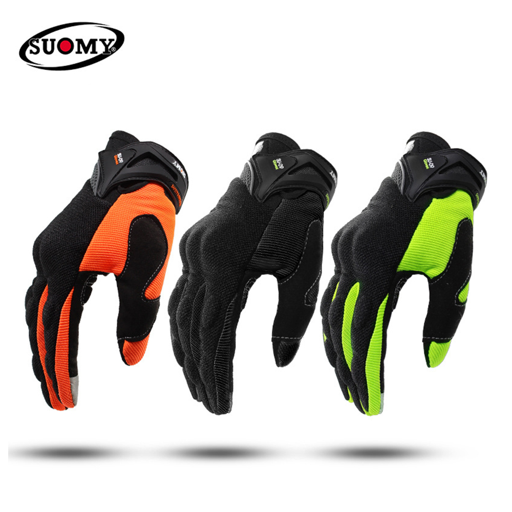 SUOMY Motorcycle Gloves Men Motocross Gloves Full Finger Guantes Gant Moto Gloves Riding Motorbike Summer Green Black Orange#