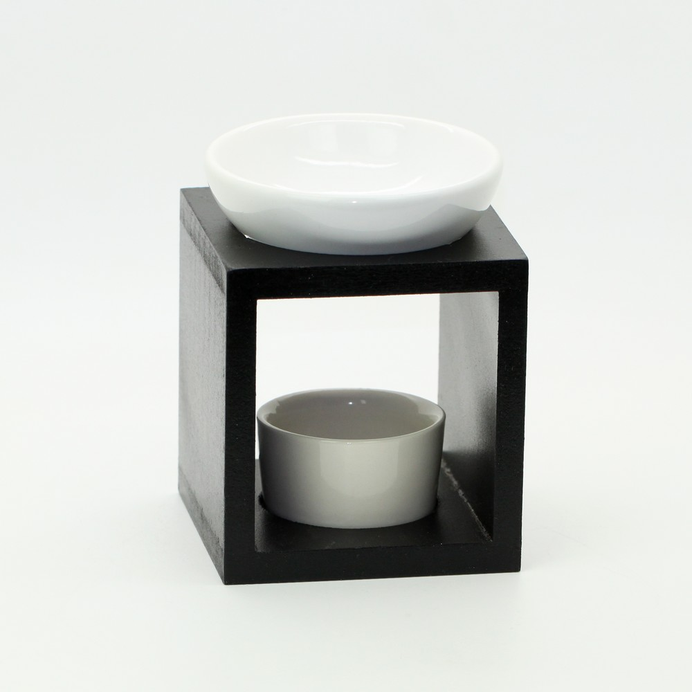 Fashion Wood Frame Black White Incense Burner Ceramic Aromatherapy Furnace Essential Oil Water Bowl Heater Candle Free Shipping