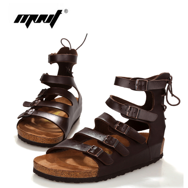 b7de1978d Large size 2017 Summer High quality Men s Sandals Leather Vintage Flat Heel  Solid Buckle Beach Gladiator Sandals For Mens Shoes