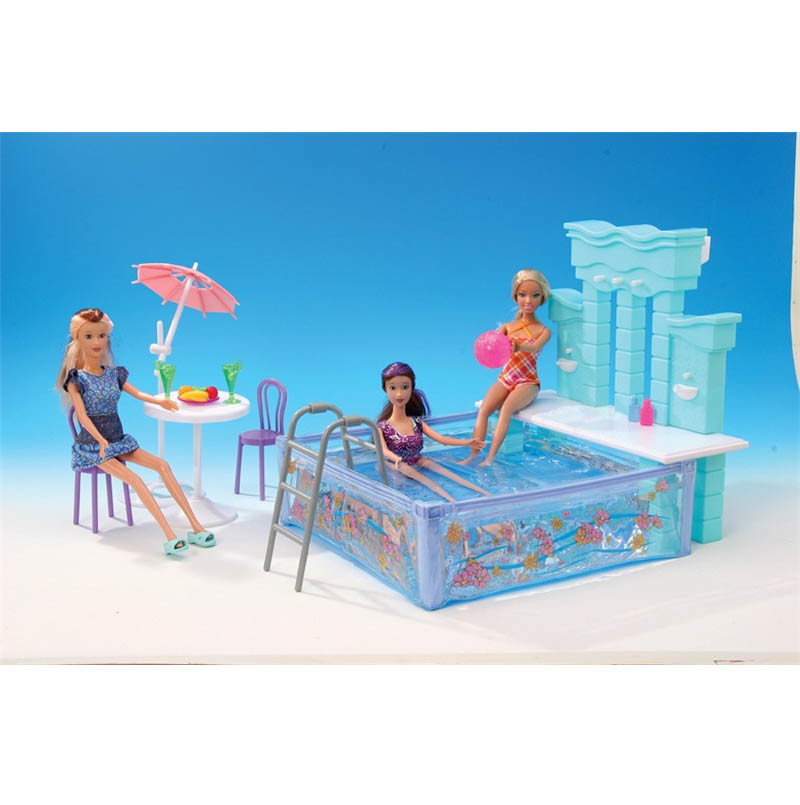 Free Shipping 6 Items Water Fun Set Swimming Pool Miniature Dollhouse Furniture for Barbie Doll Best