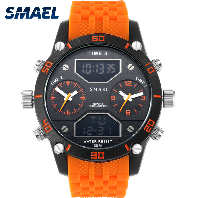 все цены на Big Men's Sports Watch Three Time Display LED Digital Quartz Watch Waterproof Dual Time Casual Watch 1159 Men Watch chronograph онлайн
