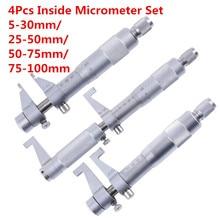 4 шт. набор микрометров 5-30 мм/25-50 мм/50-75 мм/75-100 мм 0,01 мм метрические твердосплавные Храповые винтовые измерительные приборы