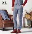Men 30% Wool Warm Suit Long Pant Super Slim Blue Plaid Stripe Business Leisure Wedding Groom Autumn Winter Young Man Trousers
