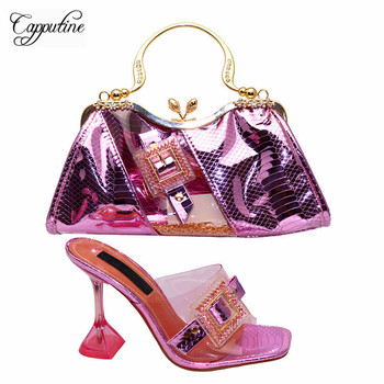Capputine Special Design Crystal Shining Shoes And Bag Set Italian Style Woman Shoes And Bag Matching Set CLutch Bag For Party