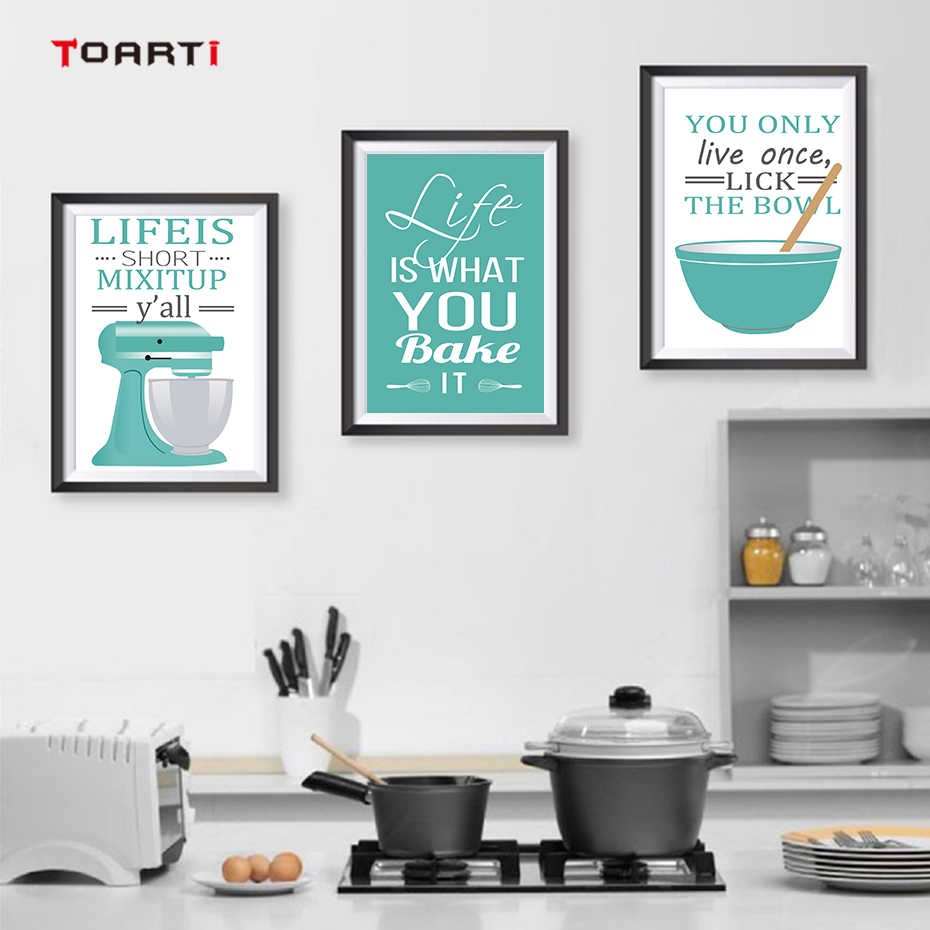 Cooking Inspiring Quotes Art Picture Blue Theme Modular Wall Modern Canvas  Painting Poster&Print Kitchen Home Decor