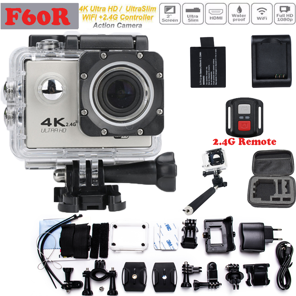 Add Value Package F60/F60R Wifi 4K 1080P go Action Camera pro 2.0 inch screen 170 Wide Lens waterproof action cam + 2.4G Remote