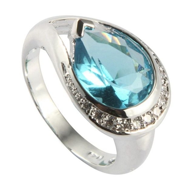 Awesome Fleure Esme Pretty Lady Light Blue Stone Rings Fashion Jewelry Silver  Plated R321 Sz#7