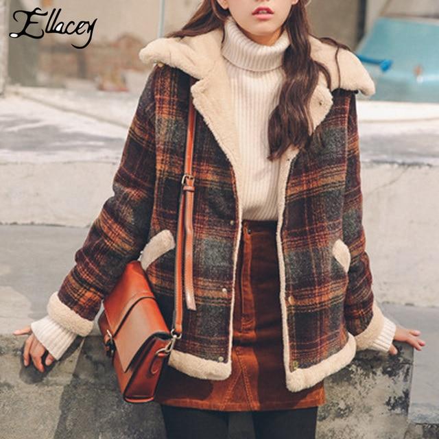 77442b25460 Ellacey New 2018 Winter Plus Velvet Thick Jacket Women Vintage Retro Woolen  Coat Plaid Lamb Fur Collar Harajuku Female Jacket