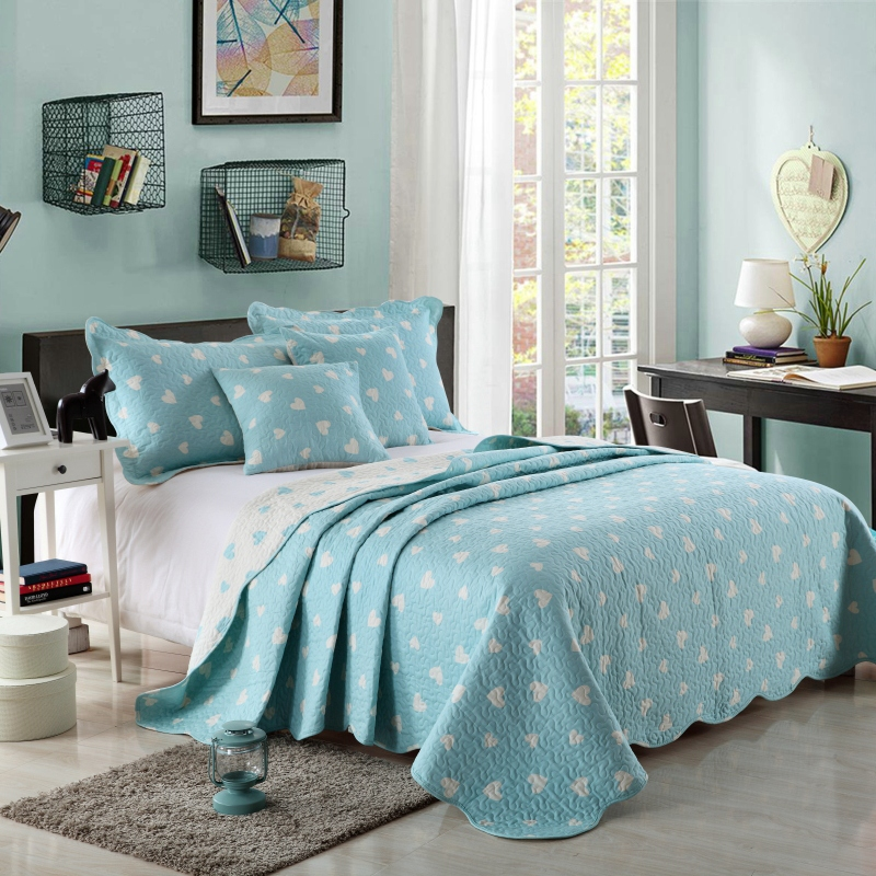 Cotton Summer Quilt Cover quilt Set Blue Pink heart-shaped printed bed covers adult Add Size home room textile Use FG640Cotton Summer Quilt Cover quilt Set Blue Pink heart-shaped printed bed covers adult Add Size home room textile Use FG640