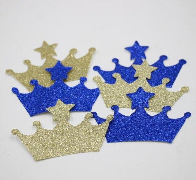 200 Unids Azul Real Del Oro Confeti Principe Fiesta De Cumpleanos