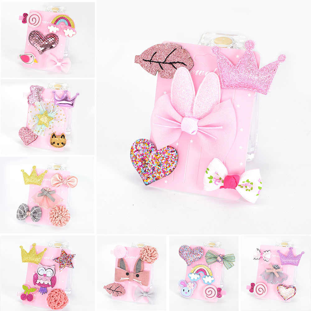 5Pcs/Set girls Unicorn hair clips bowknot cartoon hairpins toddlers kids Children Animal Bow Barrettes Hair Accessories Headwear