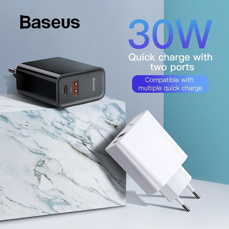 Baseus carga rápida 4,0 USB 3,0 cargador de 5A para Huawei 30 W QC 4,0 3,0 cargador rápido de 3,0 rápido cargador para iPhone