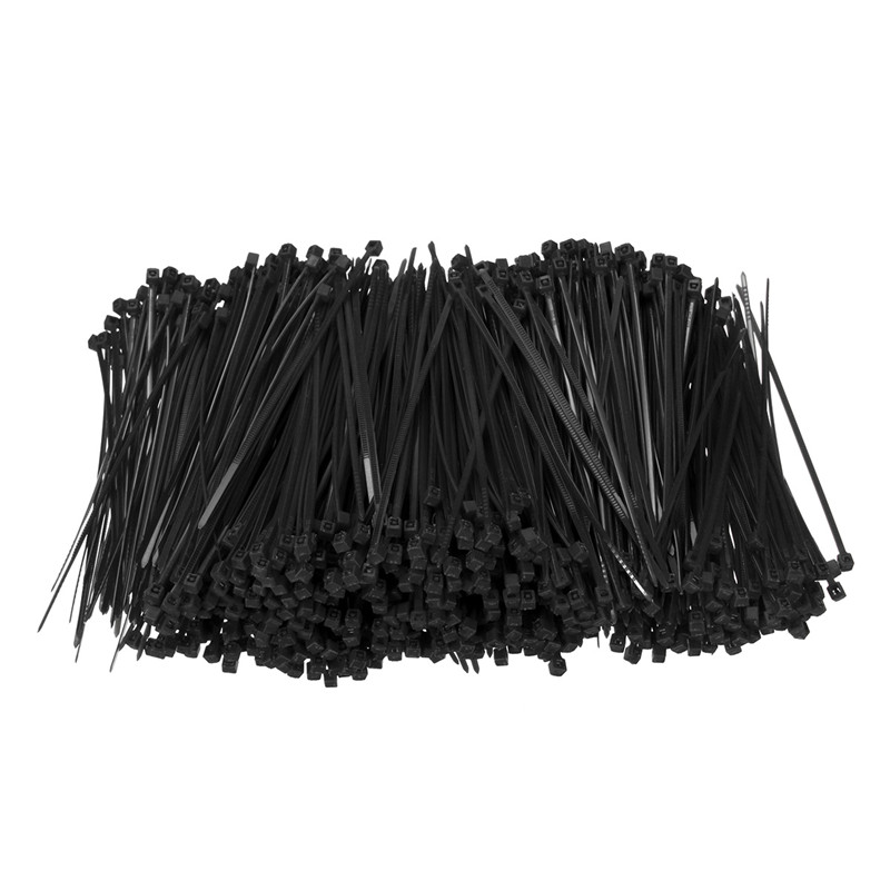 1000Pcs/Set 100mm X 1.8mm Self-Locking Black Nylon66 Wire Cable Zip Ties Fasten Wrap ROHS Certificated