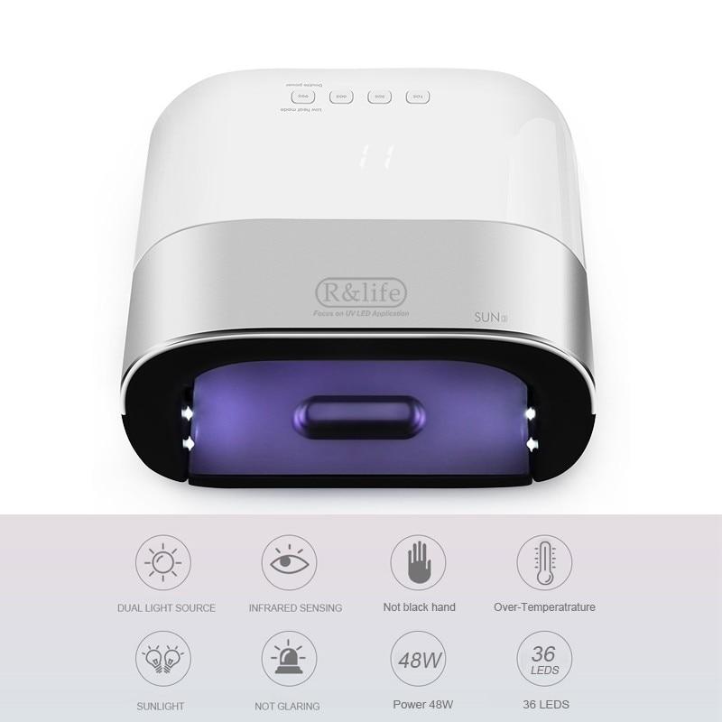 Smart Sun3 48W UV LED Nail Lamp Memory Invisible Digital Timer Display Nail Drying Machine R&life 36 leds Nail dryer gel light