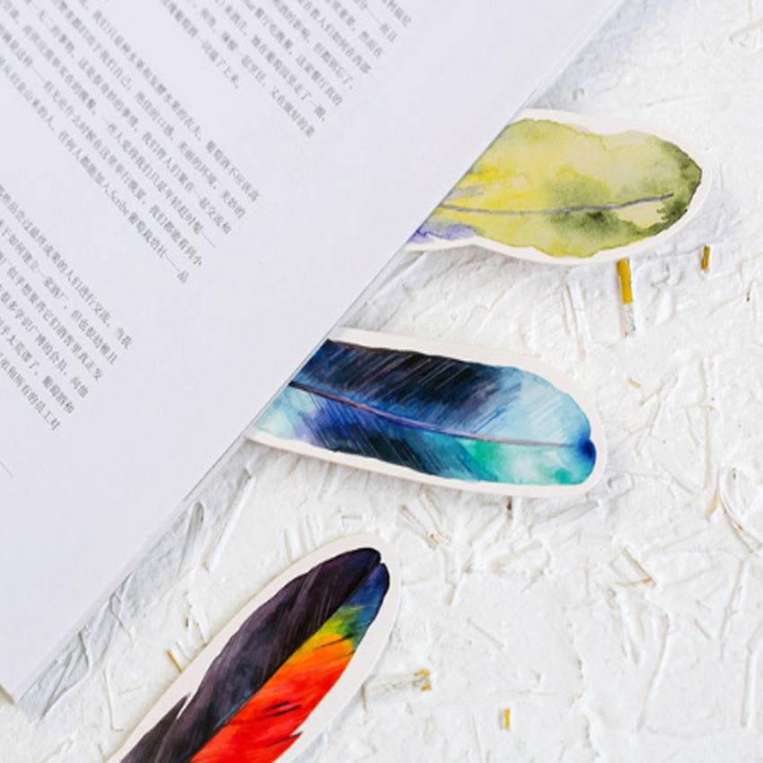 10packs/lot Colorful Feather Birds in Memory Bookmark Paper Bookmark for book marker Gift School Office Stationery Wholesale