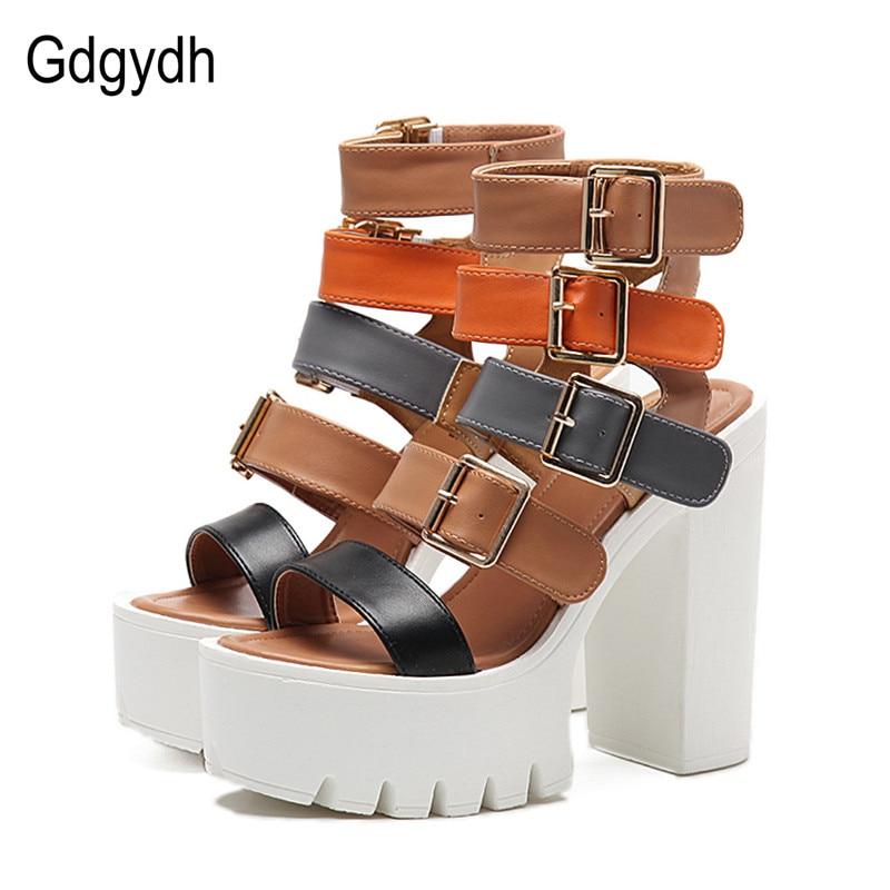 Gdgydh/женские босоножки Высокие каблуки 2018 Новая Летняя мода пряжки женские Римские сандалии женская обувь на платформе цвет черный; размеры 35–40