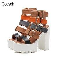 Gdgydh Women Sandals High Heels 2017 New Summer Fashion Buckle Female Gladiator Sandals Platform Shoes Woman