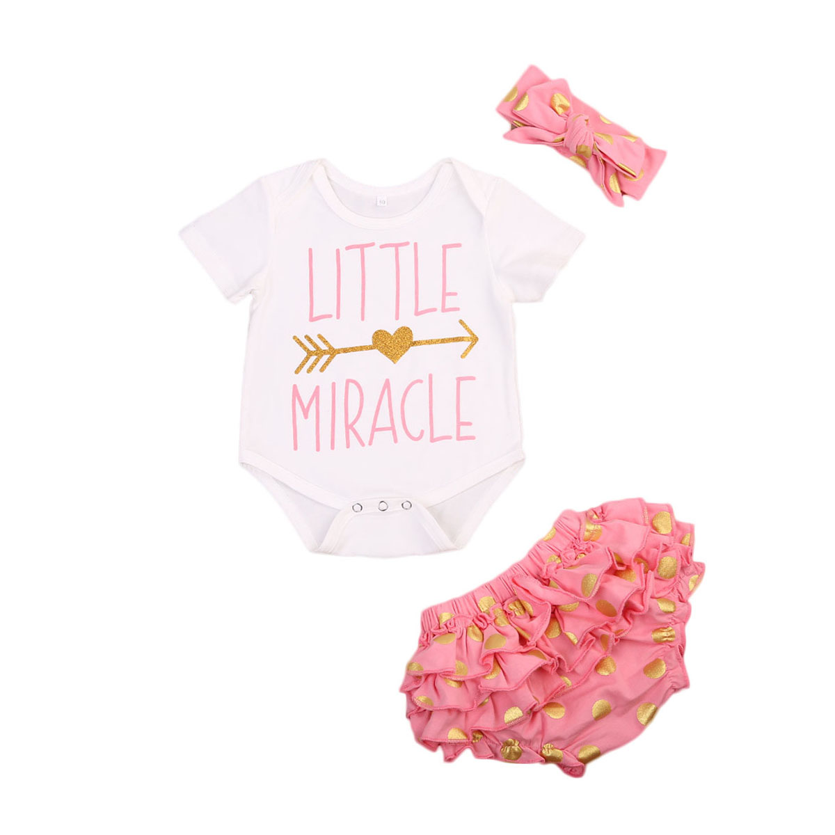 Girs Clothes Set Cute Toddler Little Miracle Child Rompers + Ruffles Skirt Pants Leggings Headbands 3PCS Outfits Clotning Set