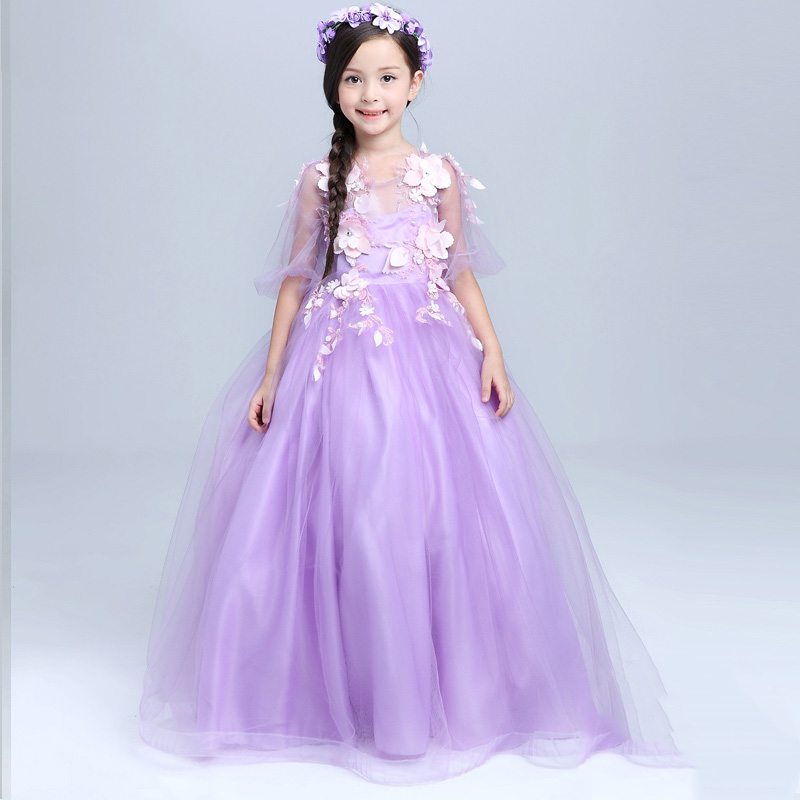 2-10Y luxury purple princess dress floor-length appliques girls pageant dress for birthday party costume flowers girl dresses пылесос bosch bsgl32383 bsgl32383