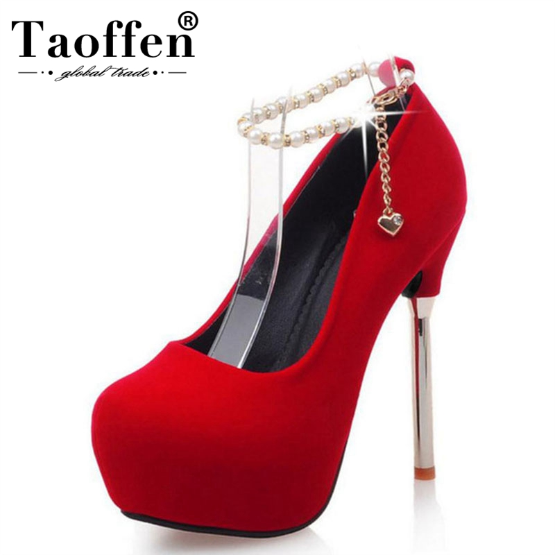 TAOFFEN woman beading thin high heel platform shoes sexy wedding ladies pumps ankle strap heeled footwear