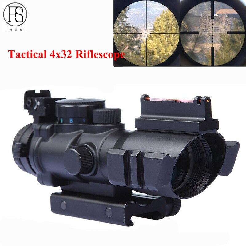 Mini optique tactique 4X32 lunette de visée de Sniper lunette de visée compacte fusil de visée Airsoft fusil de chasse portée pour Rail de 20mm