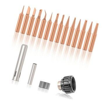 Dusco.E Pure Copper Solder Iron Tip 900M 15pcs for Soldering Rework Station for model 936, 937, 938, 969, 8586, 852D Solder Tips