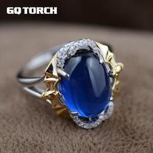 Gqtorch azul safira anéis 925 prata esterlina jóias na moda estilo amarelo banhado a ouro bagues argent femme