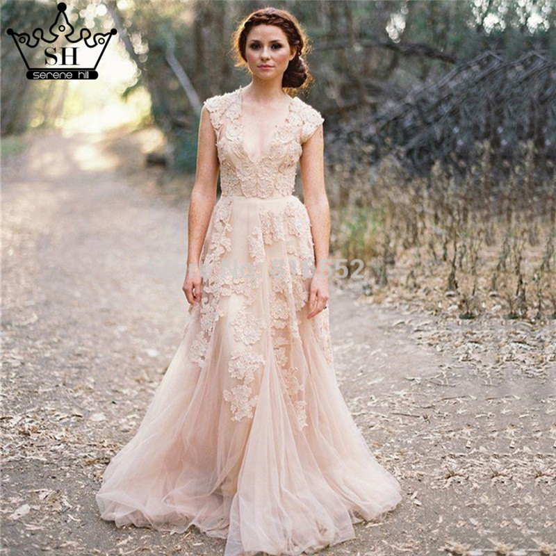 Lace Wedding Dress With Cap Sleeves Style D1919 : Lace applique blush wedding dresses elegant cap sleeves bridal gowns