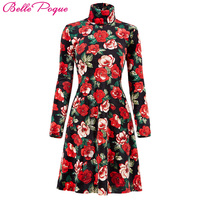 Vintage Autumn Dresses Plus Size Clothing Winter Print Vestidos Femininos Casual Office Dress Long Sleeve Women