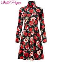 Vintage herfst jurken plus size kleding winter print vestidos femininos casual office dress lange mouwen vrouwen bloemen dress