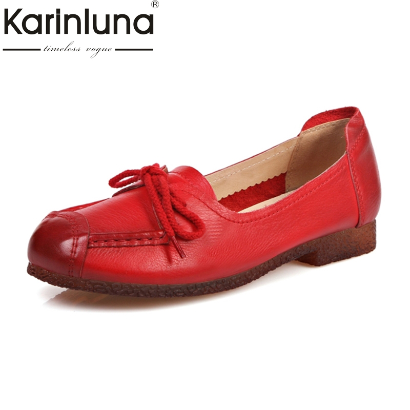 KARINLUNA Cow Leather Women Flats Breathable Pig Skin Inside Soft Cow Muscle Sole Leisure Mother Woman Shoes siketu best gift baby flats tassel soft sole cow leather shoes infant boy girl flats toddler moccasin bea6624