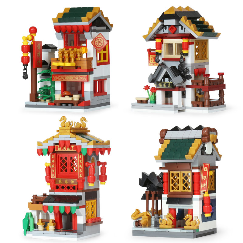 Lepin 03061 Series The Yi-chun countyard Wanke Tavern Samite Store String Hall Set 4 in 1 Building Blocks Bricks LegoINGlys Toys модель машины chun base 1 32