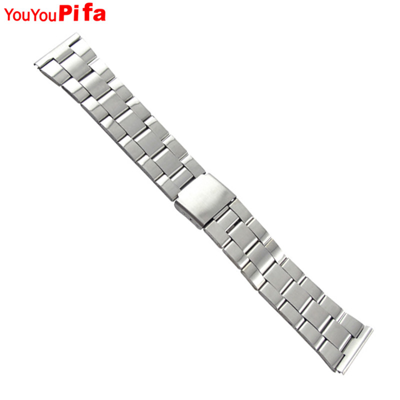 12mm 14mm 18mm 20mm 22mm 22mm Watch Band Stainless Steel Metal Wristwatch Strap Double Fold Deployment Clasp Bracelet