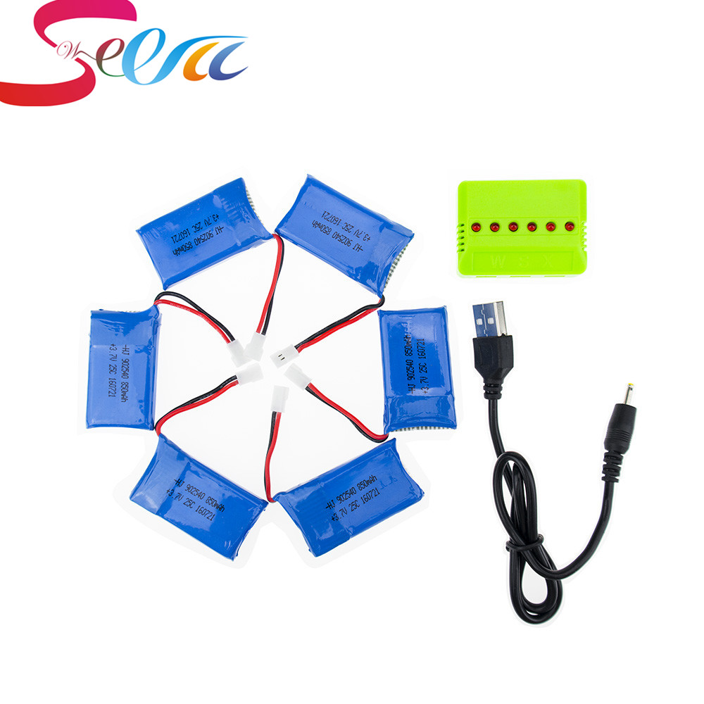 6pcs Syma X5C rc Lipo battery 3.7V 850mAh and green charger for syma x5 x5sw x5sc cx30 cx30w Helicopter drone part rc drone lipo battery 850 mah li po battery for syma x5c x5sw with 5in1 charger box for x5 x5a x5sc x5sw mjx x705c x6sw