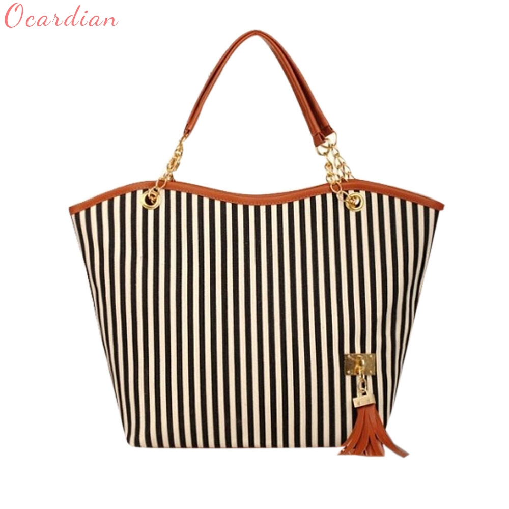 NEW Women Bag Bolsa Feminina Women Girl Stripe Tassels Chain Canvas Shopping Handbag Shoulder Tote Shop Bag drop shipping #0427