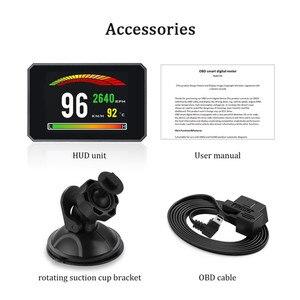 Image 5 - GEYIREN P16 head up display hud obd2 temperatur auto KM/h MPH Turbo Boost Druck geschwindigkeit projektor auf die windschutzscheibe für auto HUD