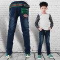 Boy diseñador de la marca Jeans 2015 la moda de nueva muchacha del invierno mediana activo pitillo pantalones pantalones para los niños de la marca de diseño