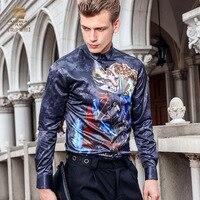 Fanzhuan Gratis Verzending herfst mannen mannelijke 2017 mode ongedwongen lange mouwen NIEUWE digitale gedrukt slanke overhemd Trend patroon 713124
