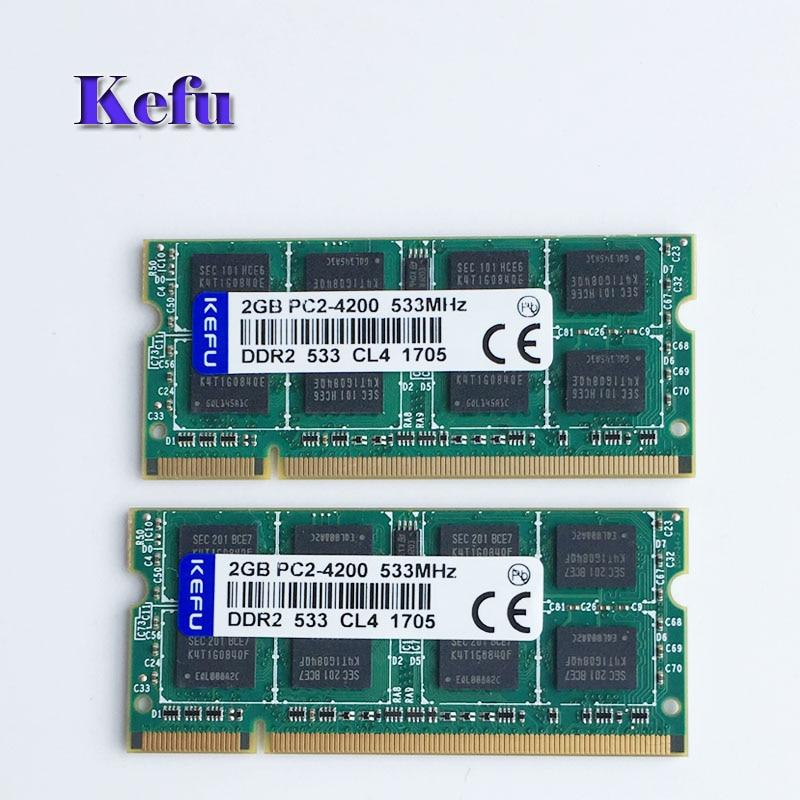 2pcs 2x2GB PC2-4200 DDR2-533 533Mhz DDR2 Laptop Memory SODIMM Notebook RAM Non-Ecc 200pins Low density new 100x2gb pc2 6400s ddr2 800 800mhz ddr2 cl6 0 sodimm 2rx8 ram non ecc 200pin notebook low density laptop memory