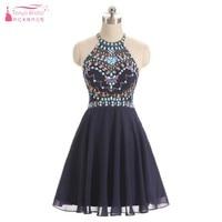 Темно синий Бисер выпускников платья мини линии Спарки Блестки Homecoming Коктейльные платья Короткие Платья для вечеринок ZHM002